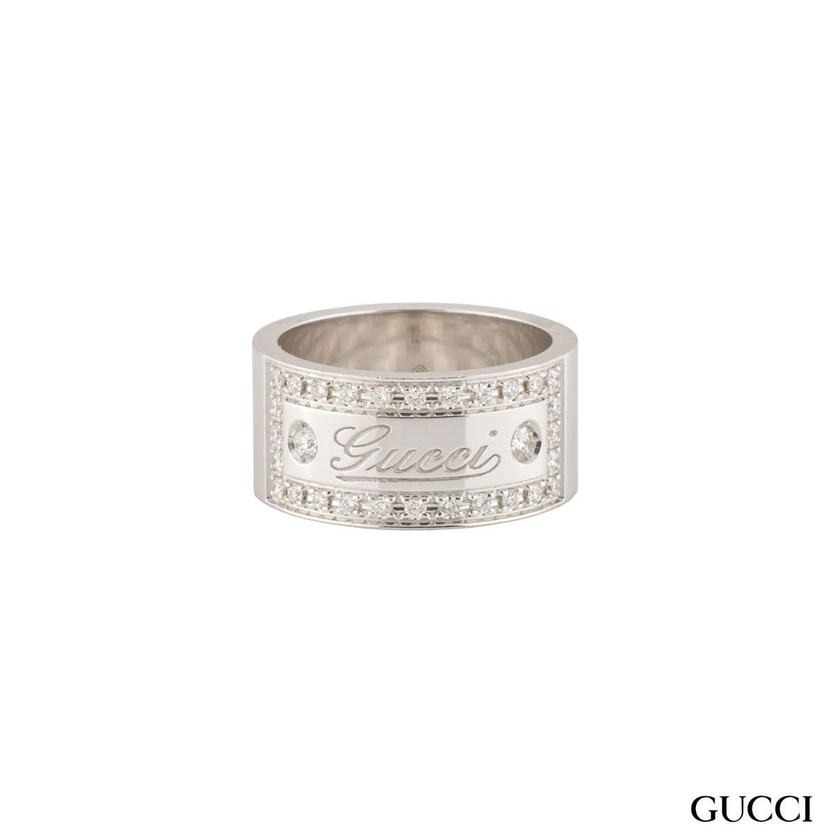 Gucci White Gold Diamond Band Ring